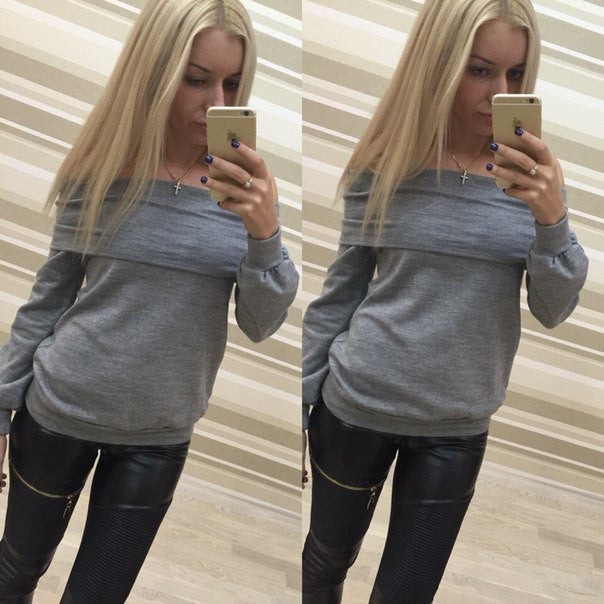 Off Shoulder Pure Color Long Sleeves Loose T-shrit Sweatshirt - Oh Yours Fashion - 5