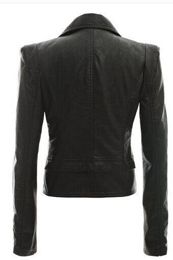 Turn Down Zippered Collar PU Jacket - O Yours Fashion - 4