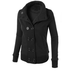 Women Button Hooded Removable Hat Coat - O Yours Fashion - 3