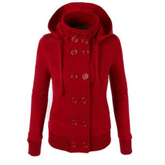 Women Button Hooded Removable Hat Coat - O Yours Fashion - 2
