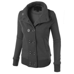 Women Button Hooded Removable Hat Coat - O Yours Fashion - 1