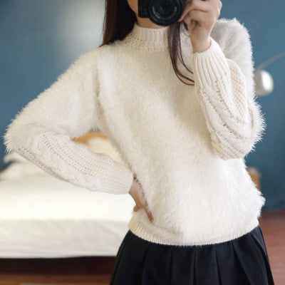 High Neck Cable Pullover Solid Color Sweater - Oh Yours Fashion - 3