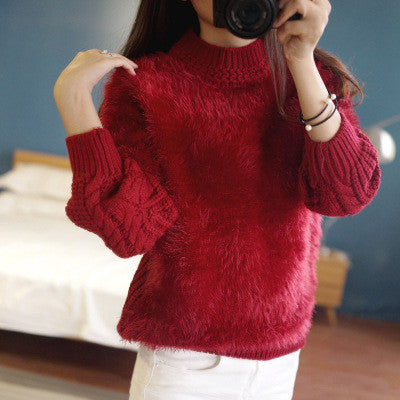 High Neck Cable Pullover Solid Color Sweater - Oh Yours Fashion - 2
