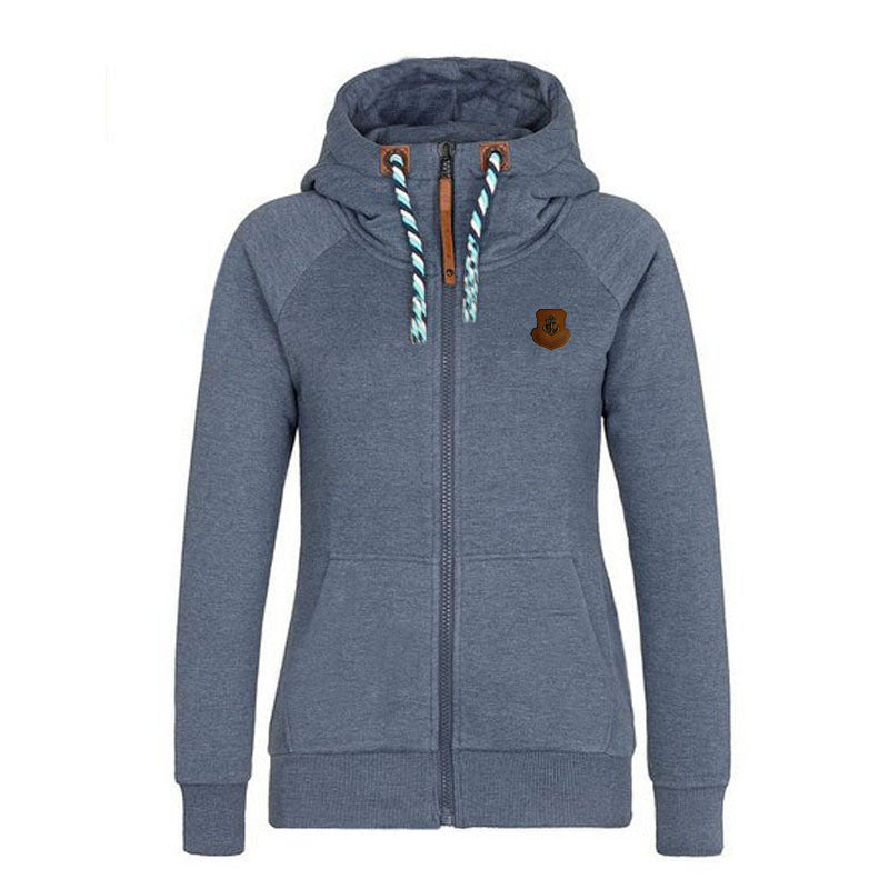 Solid Color Zipper Pocket Women Hoodie - O Yours Fashion - 1