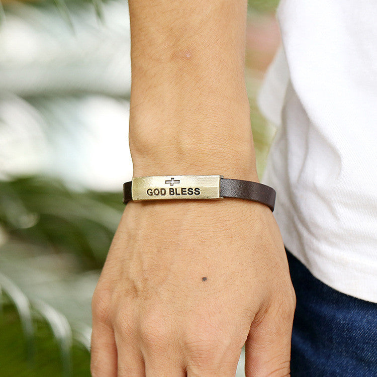 GOD BLESS Alloy Leather Bracelet - Oh Yours Fashion - 2