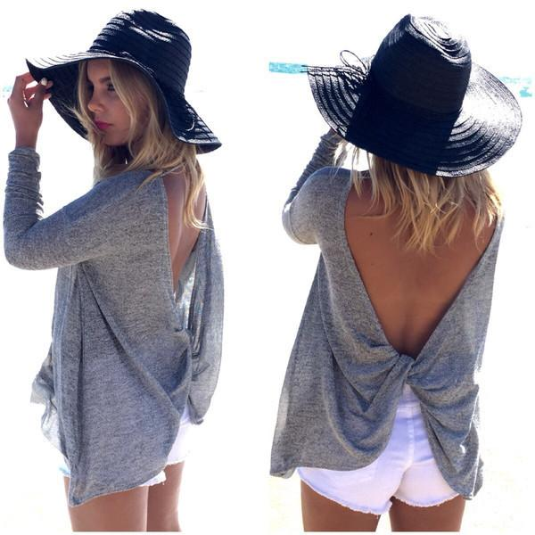 Backless Scoop Bat-wing Sleeves Back Cross Casual T-shirt - Meet Yours Fashion - 1