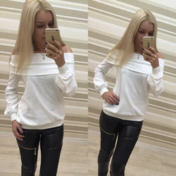 Off Shoulder Pure Color Long Sleeves Loose T-shrit Sweatshirt - Oh Yours Fashion - 1