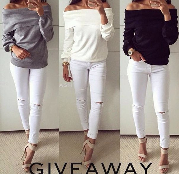 Off-shoulder Strapless Long Sleeves Pure Color Casual Blouse - Oh Yours Fashion - 3