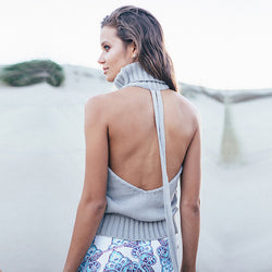 Sleeveless High Backless Knit Pullover Sexy Sweater - Oh Yours Fashion - 1
