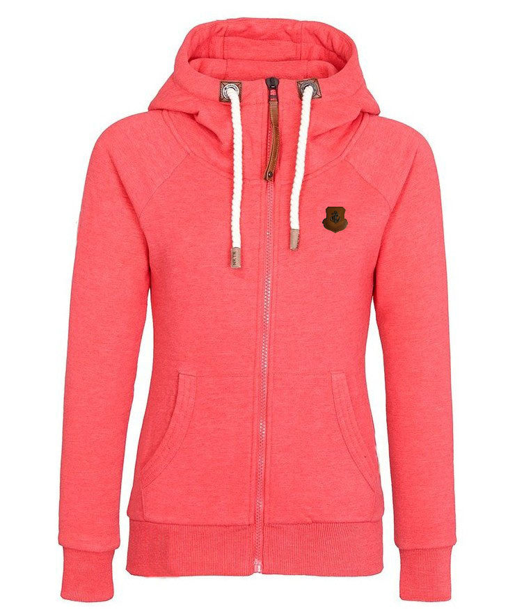 Solid Color Zipper Pocket Women Hoodie - O Yours Fashion - 4