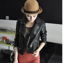 Women Black Zipper Moto Crop Slim Jacket - Oh Yours Fashion - 4