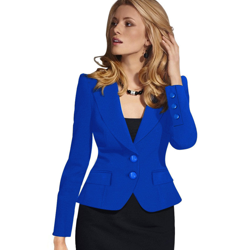 Slim Double Button Deep V-neck Turn-down Collar Short Blazer - Oh Yours Fashion - 6
