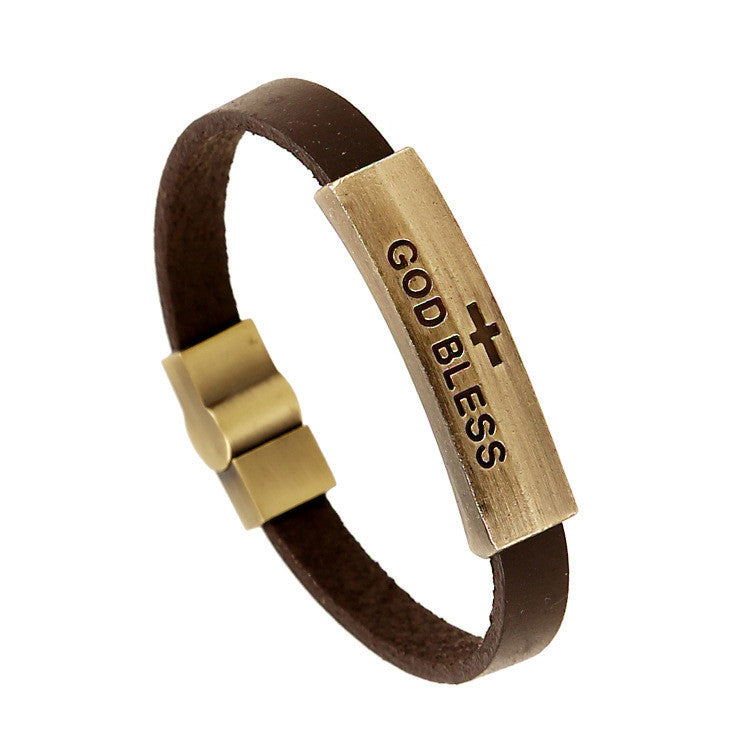 GOD BLESS Alloy Leather Bracelet - Oh Yours Fashion - 1