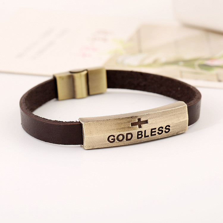 GOD BLESS Alloy Leather Bracelet - Oh Yours Fashion - 3