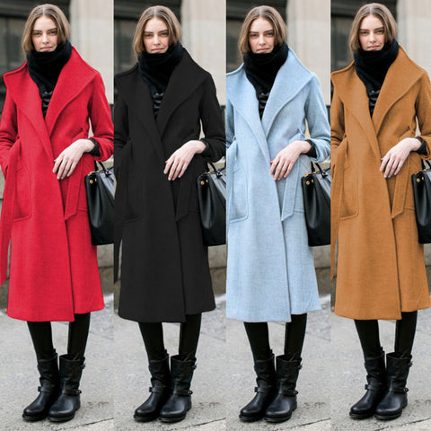 Lapel Belt Solid Woolen Long Coat