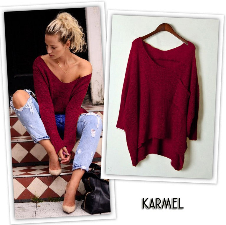 V-neck Asymmetric Solid Color Pullover Sweater - Oh Yours Fashion - 5
