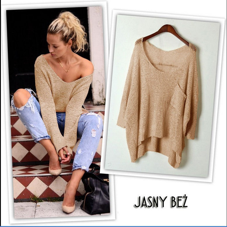 V-neck Asymmetric Solid Color Pullover Sweater - Oh Yours Fashion - 3
