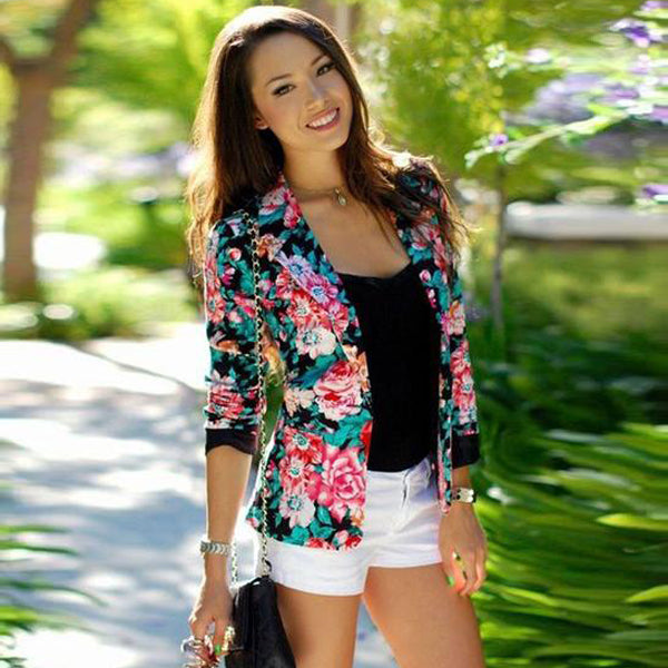 Turn-down Collar Slim Flower Print Fashion Short Coat