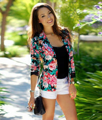 Turn-down Collar Slim Flower Print Fashion Short Coat - Oh Yours Fashion - 2