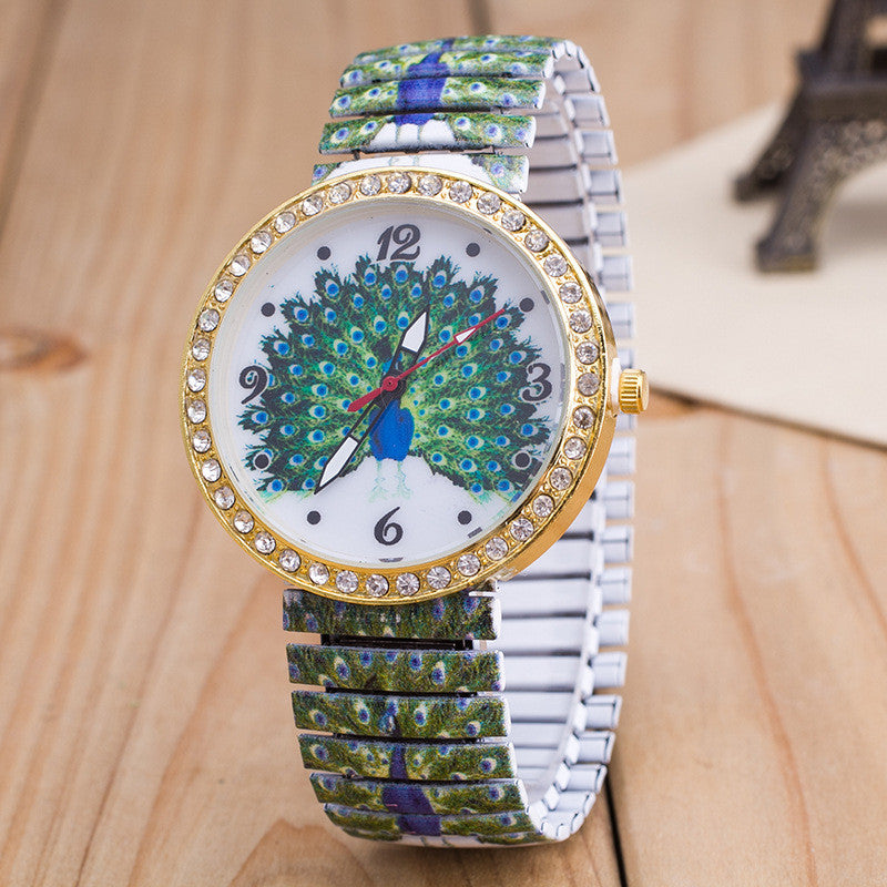 Peacock Print Dial Elastic Belt Watch - Oh Yours Fashion