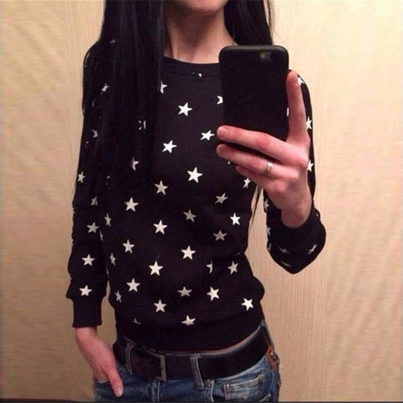 Stars Flower Print Long Fashion Casual Sweatshirt - Meet Yours Fashion - 1