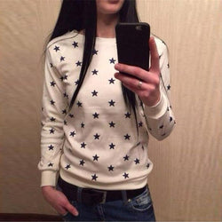 Stars Flower Print Long Fashion Casual Sweatshirt - Meet Yours Fashion - 4