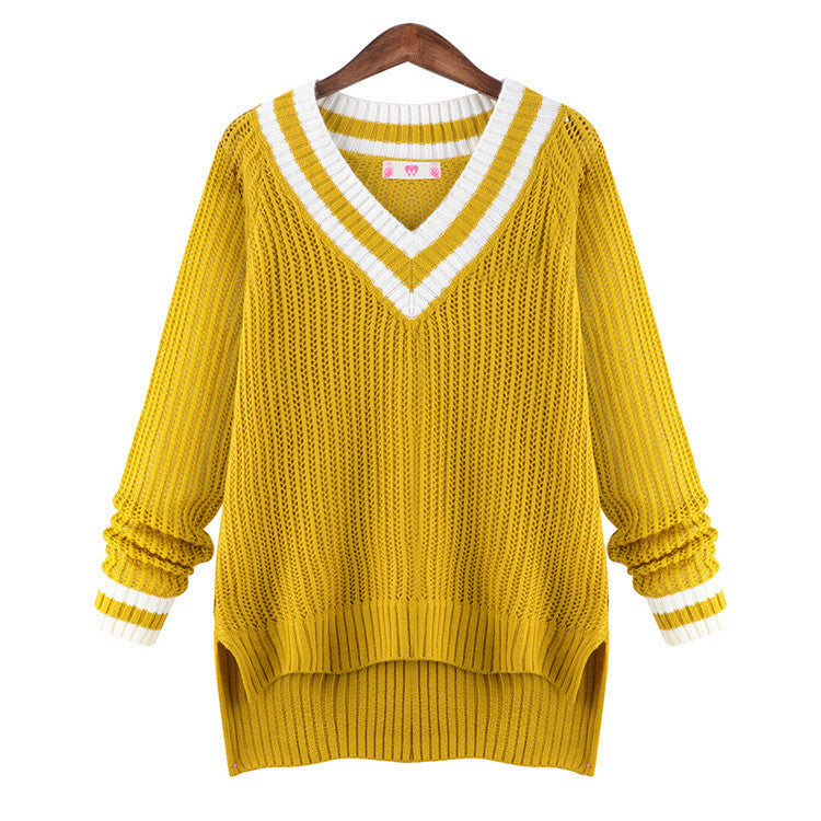 Peach Collar Sexy Knit Pullover Solid Color Sweater - Oh Yours Fashion - 4