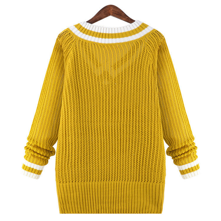 Peach Collar Sexy Knit Pullover Solid Color Sweater - Oh Yours Fashion - 5