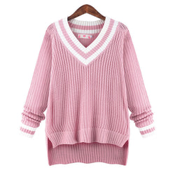 Peach Collar Sexy Knit Pullover Solid Color Sweater - Oh Yours Fashion - 2