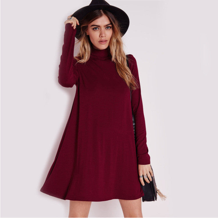 6c1365ca0fbe Simple Fashion High Neck Long Sleeve Loose Short Dress - Oh Yours Fashion -  1