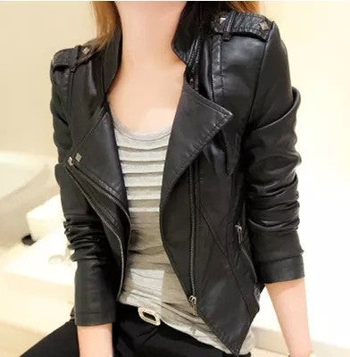 Stand Collar Rivet Oblique Zipper Slim Crop Jacket
