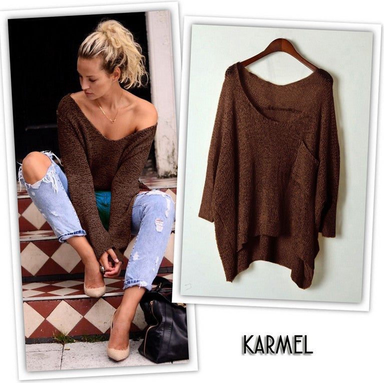 V-neck Asymmetric Solid Color Pullover Sweater - Oh Yours Fashion - 6