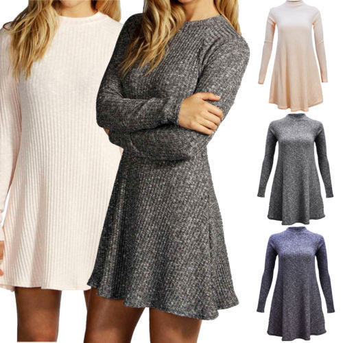 Women's Fashion Knit Ribbed Scoop A-Line Long Sleeve Sweater Dress - Oh Yours Fashion - 3
