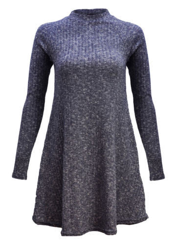 Women's Fashion Knit Ribbed Scoop A-Line Long Sleeve Sweater Dress - Oh Yours Fashion - 7