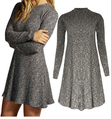 Women's Fashion Knit Ribbed Scoop A-Line Long Sleeve Sweater Dress - Oh Yours Fashion - 6