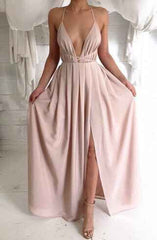Spaghetti V-neck Backless Solid Color Long Dress - Oh Yours Fashion - 2