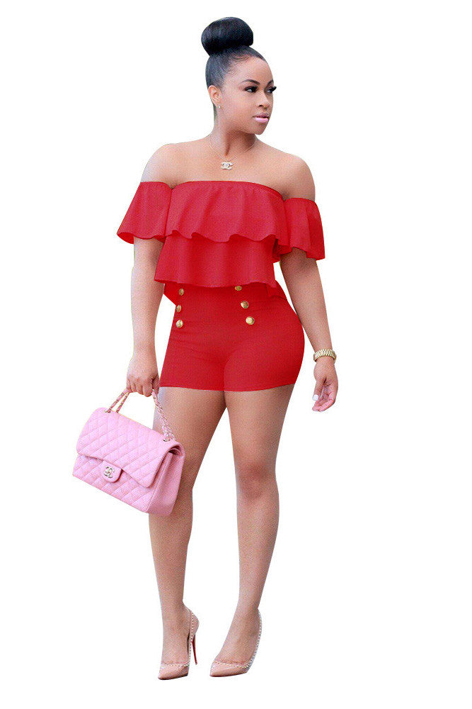 Pure Color Ruffles Strapless Short Sleeves Short Jumpsuit