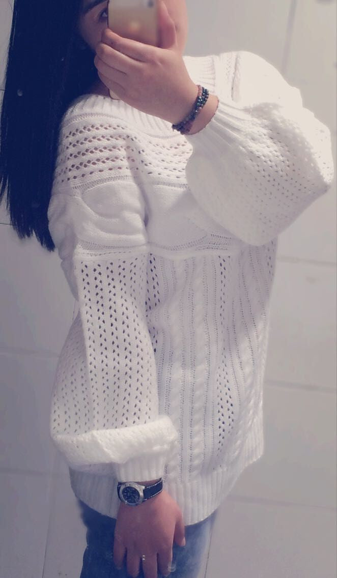 Cable Straight Collar Hollow Knit Pullover Sweater - Oh Yours Fashion - 2