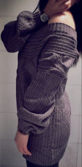 Cable Straight Collar Hollow Knit Pullover Sweater - Oh Yours Fashion - 5