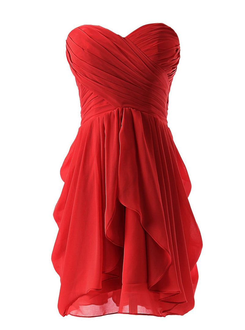 Sterpless Solid Color Irregular Ruffles Homecoming Party Dress - Meet Yours Fashion - 3
