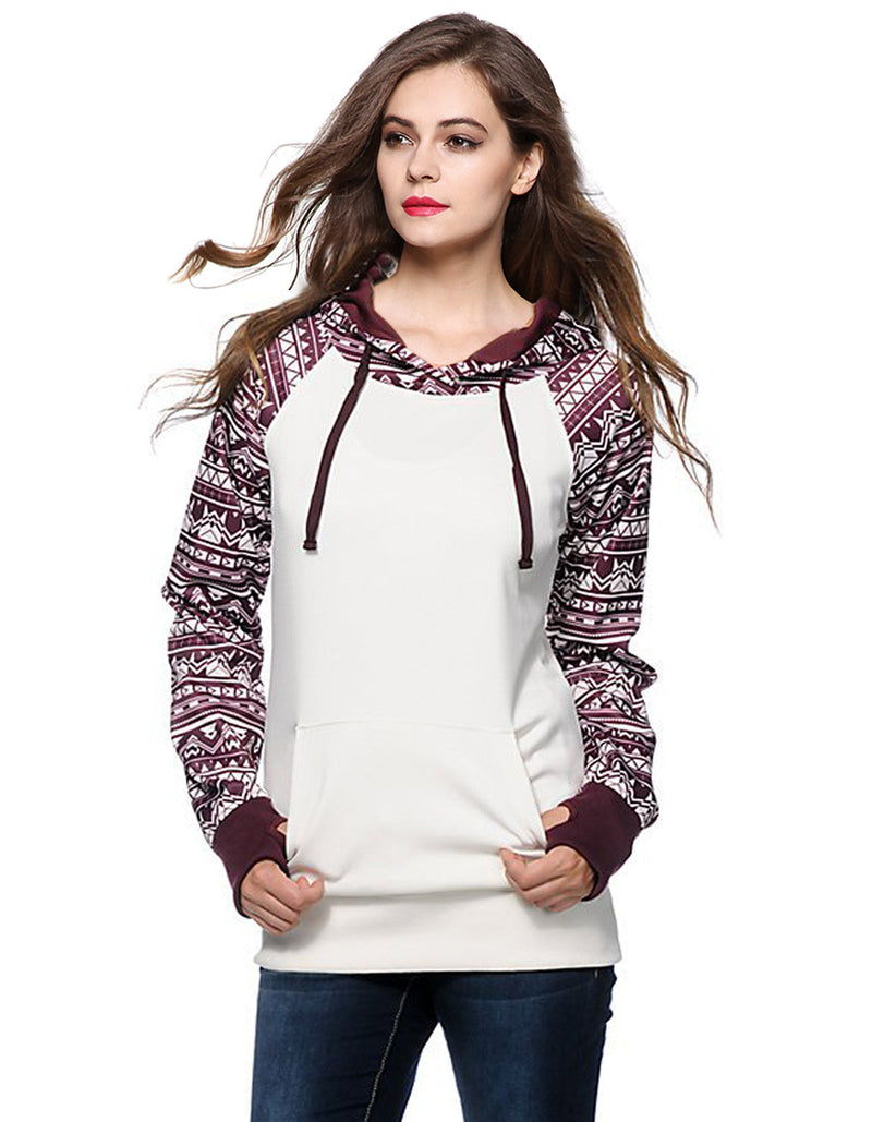 Print Pullover Hooded Pocket Splicing Long Sleeves Hoodie - Oh Yours Fashion - 2