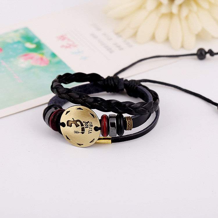 Virgo Constellation Woven Leather Bracelet - Oh Yours Fashion - 3