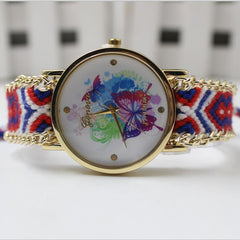 Color Matching Spinning Butterfly Flower Print Watch - Oh Yours Fashion - 3