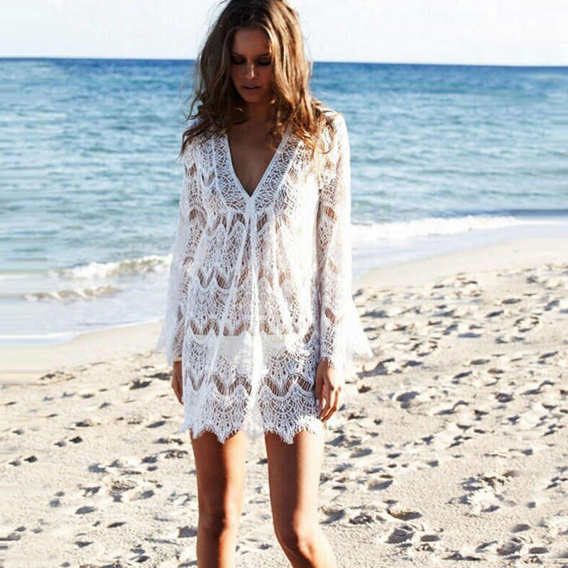 Lace V-neck Long Sleeve Short Bikini Cover Up Dress - Oh Yours Fashion - 1