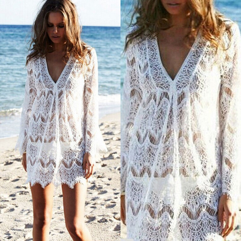 Lace V-neck Long Sleeve Short Bikini Cover Up Dress - Oh Yours Fashion - 4