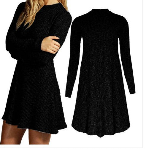 Women's Fashion Knit Ribbed Scoop A-Line Long Sleeve Sweater Dress - Oh Yours Fashion - 5
