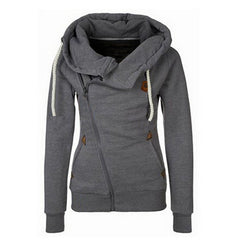 Sport High Neck Lace Up Casual Hoodie - O Yours Fashion - 2