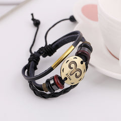Aries Constellation Woven Leather Bracelet - Oh Yours Fashion - 3