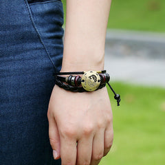 Pisces Constellation Woven Leather Bracelet - Oh Yours Fashion - 2