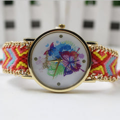 Color Matching Spinning Butterfly Flower Print Watch - Oh Yours Fashion - 5